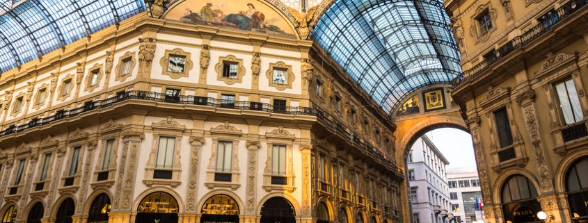 MILAN, ITALY - JULY 12, 2015: Famous Galleria Vittorio Emanuele II in a beautiful summer day in Milan on July 12, 2014 in Milan, Italy
