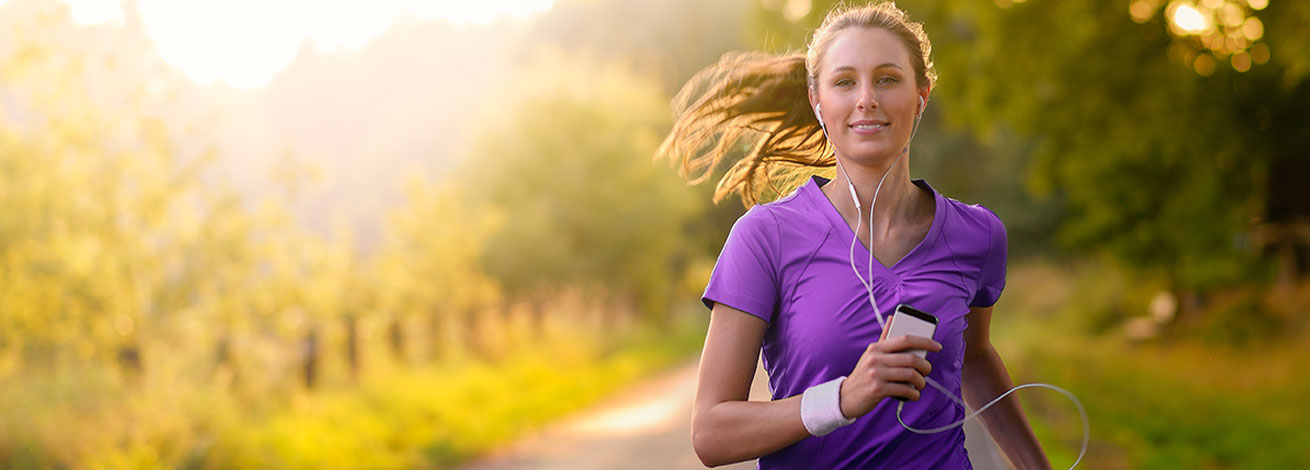 beautiful woman running